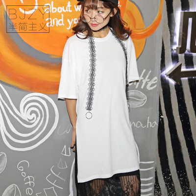 半简主义 2017新款女装韩版中长款体恤衫女t恤纯棉上衣 QS061