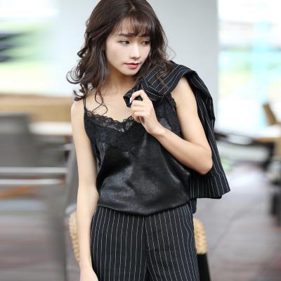 半简主义 2018时尚百搭纯色宽松性感吊带衫QS065