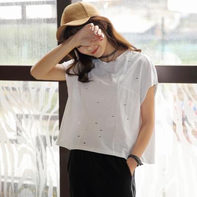 半简主义 2017短袖T恤破洞新款韩版宽松夏装衣服女装QS059