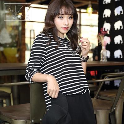 半简主义 2017夏装新款条纹夏季短袖t恤韩版宽松上衣服百搭QS060