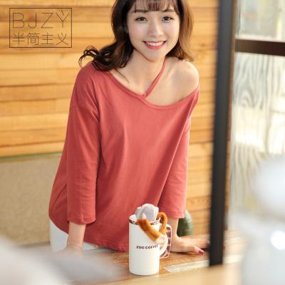 夏装韩版一字领上衣女宽松纯棉t恤七分袖百搭打底衫QS062