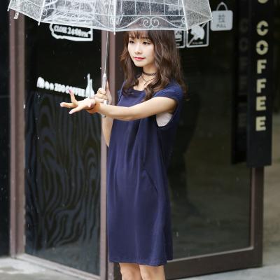 半简主义 2017女长裙夏短袖圆领连衣裙中长款宽松纯棉QS064