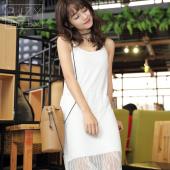 半简主义 2017夏新款女装无袖蕾丝连衣裙A字裙QS066