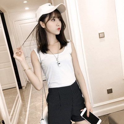 J.S.YU 2018夏装新款背心吊带衫百搭修身显瘦纯色U领打底背心 JS7A150