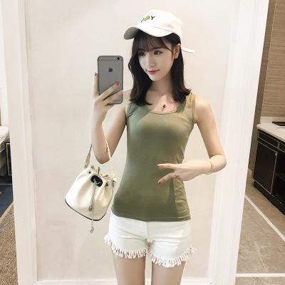 J.S.YU 2018新款背心吊带衫百搭修身显瘦工字型纯色U领打底背心女 JS7A151