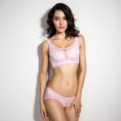尤莱儿 零束缚无钢圈一片式防震粉紫色抹胸文胸套装