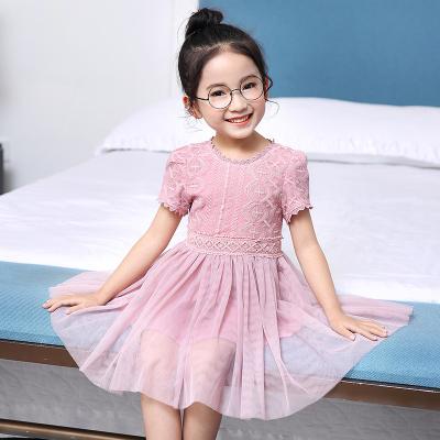 傲娃2017年新款上新绣花公主袖裙新款时尚修身女童两色
