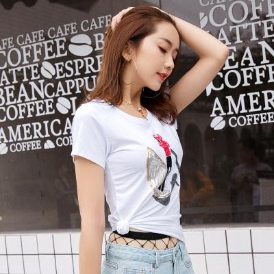 金丽都 2017夏季女装图案上衣t恤韩版修身半袖体恤小衫棉质T恤女短袖96309