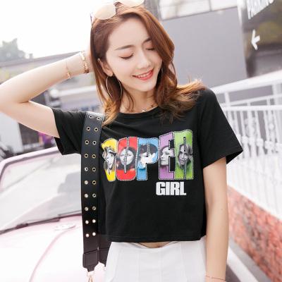 金丽都 2017新款T恤短袖短款宽松百搭上衣女装夏季96320