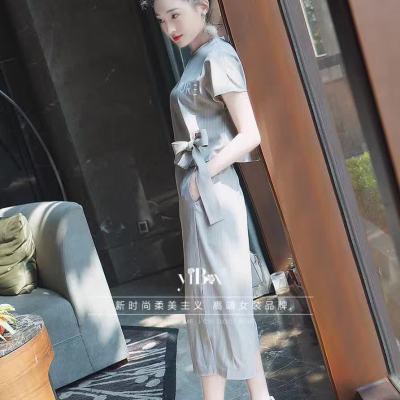 吻合 2017春夏新款时尚字母条纹上衣+阔腿裤两件套装