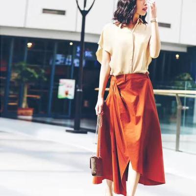 吻合 2017春夏新款时尚双层飘逸上衣+个性立体剪裁不规则半裙