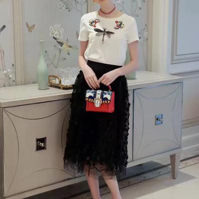 吻合 2017春夏新款时尚显瘦短袖T恤+立体花朵蓬蓬网纱裙套装