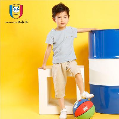 优衣熊 2017韩版时尚散口圆领短袖T恤麻棉休闲裤两件套H1010