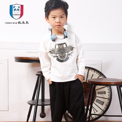 优衣熊 2017年韩版时尚散口刺绣印花卫衣五分哈伦裤两件套H9003