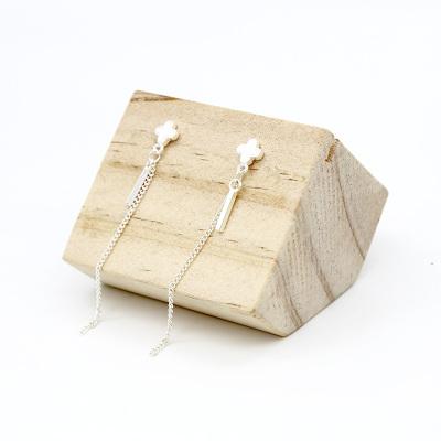 韩版S925纯银耳针小巧精致简约四叶草梅花长款流苏耳环防过敏耳钉女