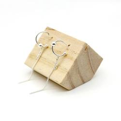 S925纯银耳针韩版时尚银色半圆链条吊棒长款吊坠耳环女简约个性气质耳饰品百搭
