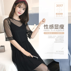 SUN 2017韩版夏季蕾丝透视网纱修身性感两件套连衣裙 153