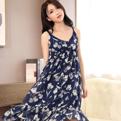 非凡衣品 2017夏装新款女士韩版吊带长裙无袖碎花雪纺连衣裙显瘦沙滩裙子F002