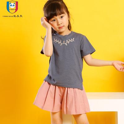 优衣熊 2017韩版时尚刺绣洗水纯棉圆领T恤装 百褶短裤两件套N9012