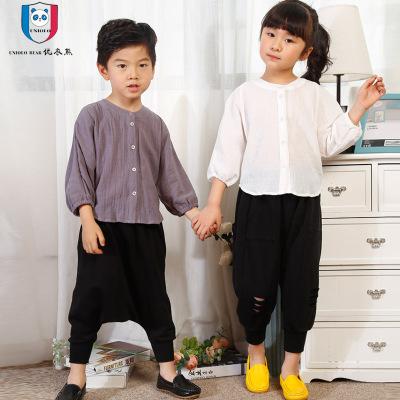 优衣熊 2017新款韩版时尚中性麻棉立领衬衫 破洞哈伦裤两件套N9015