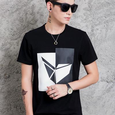 拉赫洛 2017夏新款修身直筒短袖t恤衫男时尚圆领几何印花男士潮流打底衫 X-09