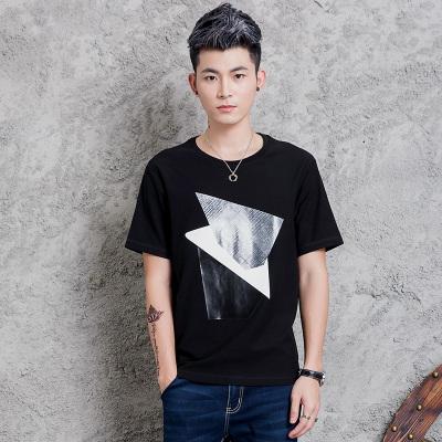拉赫洛   抽象质感几何印花男T恤   X-15