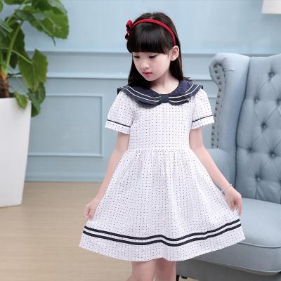 女童夏装连衣裙2017新款 儿童纯棉海军风公主连衣裙子厂家直销