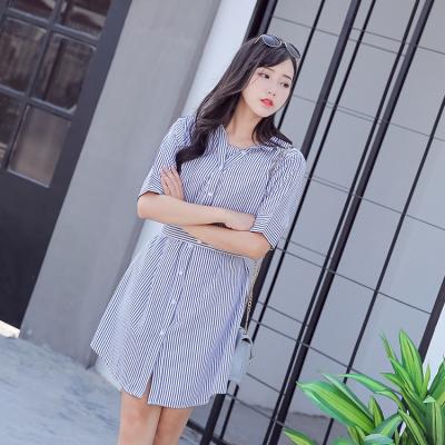 蓝莓家 2017春款条纹露肩收腰显瘦一字领衬衫连衣裙假两件吊带背心裙 817