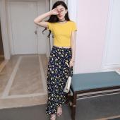 蓝莓家 2017夏季新款韩版女装短袖套装印花裙子韩版修身两件套连衣裙长  6319