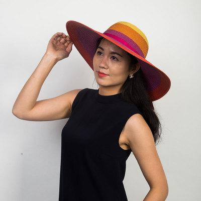 Livingston利文思顿 帽子女夏天草帽韩版潮遮阳帽,夏季防晒沙滩帽,遮脸大沿 LF8023