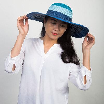 Livingston利文思顿 帽子女夏天草帽韩版潮遮阳帽,夏季防晒沙滩帽,遮脸大沿 LF8024