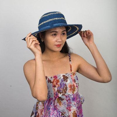 Livingston利文思顿 帽子女夏天草帽韩版潮遮阳帽,夏季防晒沙滩帽,遮脸大沿 LF8026