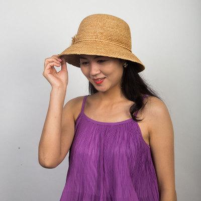Livingston利文思顿 手钩拉菲草。韩版女夏天沙滩帽太阳帽子休闲百搭草编遮阳帽 LF8028