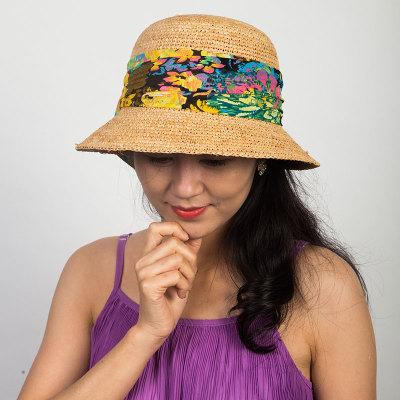 Livingston利文思顿 手钩拉菲草。韩版女夏天沙滩帽太阳帽子休闲百搭草编遮阳帽 LF8029