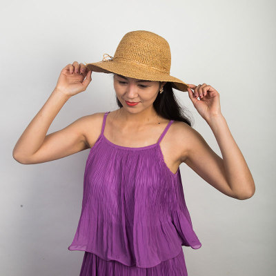 Livingston利文思顿 手钩拉菲草。韩版女夏天沙滩帽太阳帽子休闲百搭草编遮阳帽 LF8030