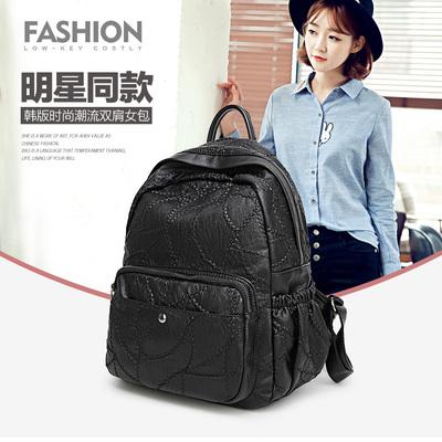 2017新款女士背包双肩包 女包韩版潮流时尚旅行真皮背包女 3003