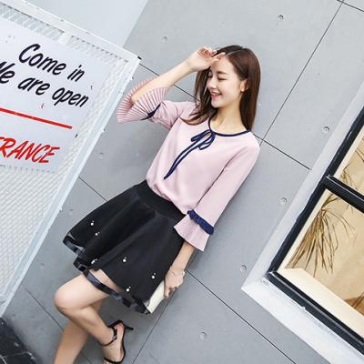 【秒杀款】钱棠 2017女装春夏新款韩版两件套女雪纺上衣半身裙短裙套装 1821