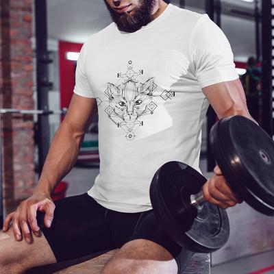KBB KBB 2017夏新款美国潮牌男士透心凉圆领棉T恤 猫头图案