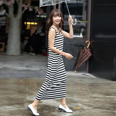 2018夏季新款中长款条纹背心连衣裙 QS068