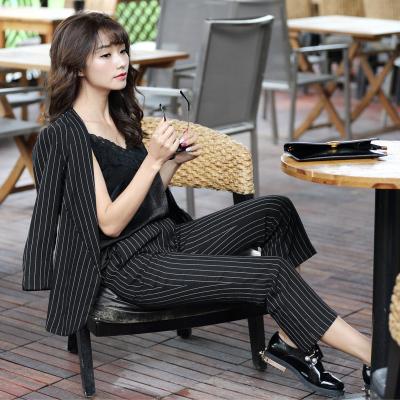 2018时尚韩版竖条纹百搭气质西服裤 QS075