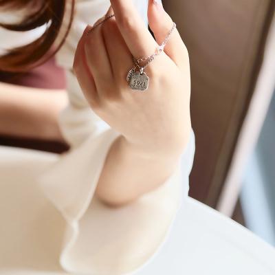 GTF S925纯银短款项链女 日韩简约圆片字母锁骨链 生日礼物韩国饰品 N078