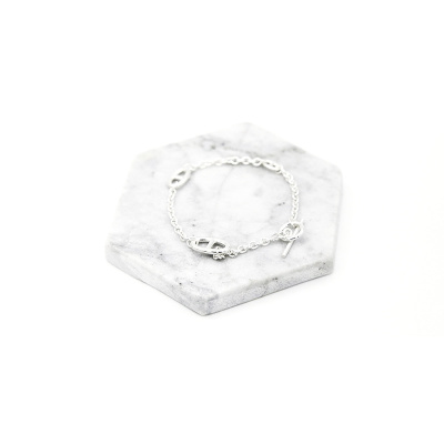 OT韩国定制S925纯银手链 时尚个性OT搭扣猪鼻子手链 气质百搭女