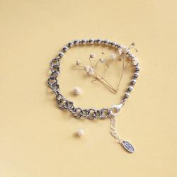 韩版s925纯银复古泰银手链不对称圆珠拼接侧身链条做旧手链女