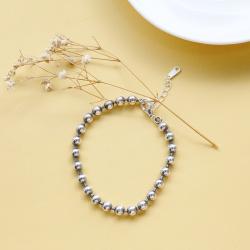 纯银圆珠手链银饰银珠链女韩版转运情侣时尚女友礼物C 15