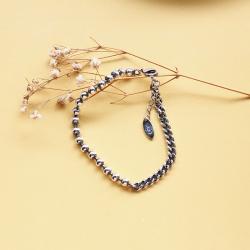 GTF 韩版s925纯银复古泰银手链不对称圆珠拼接侧身链条做旧手链女16