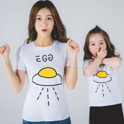 2018年夏季亲子套装 韩国亲子装夏装 新款夏季短袖印花t恤家庭套装QZ1705