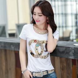 金丽都 韩版夏装圆领短袖T恤女33319