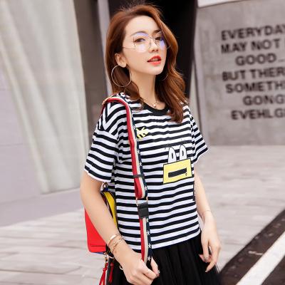 金丽都 2017夏新款半袖女新款女装韩版宽松条纹时尚上衣百搭短袖t恤潮 96301
