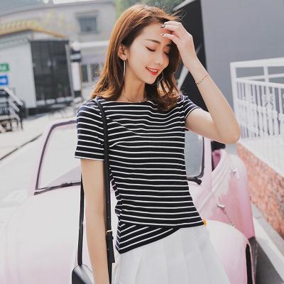 金丽都 2017夏新纯棉圆领条纹女装韩版女士体恤百搭上衣打底衫 96321