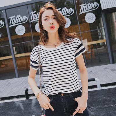 金丽都 2017夏新款女t恤横条纹圆领半袖短袖纯棉百搭女装体恤女衫 96308